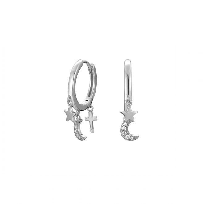Aros de plata con tres colgantes