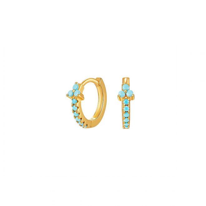Aros con circonitas azul turquesa bañados en oro