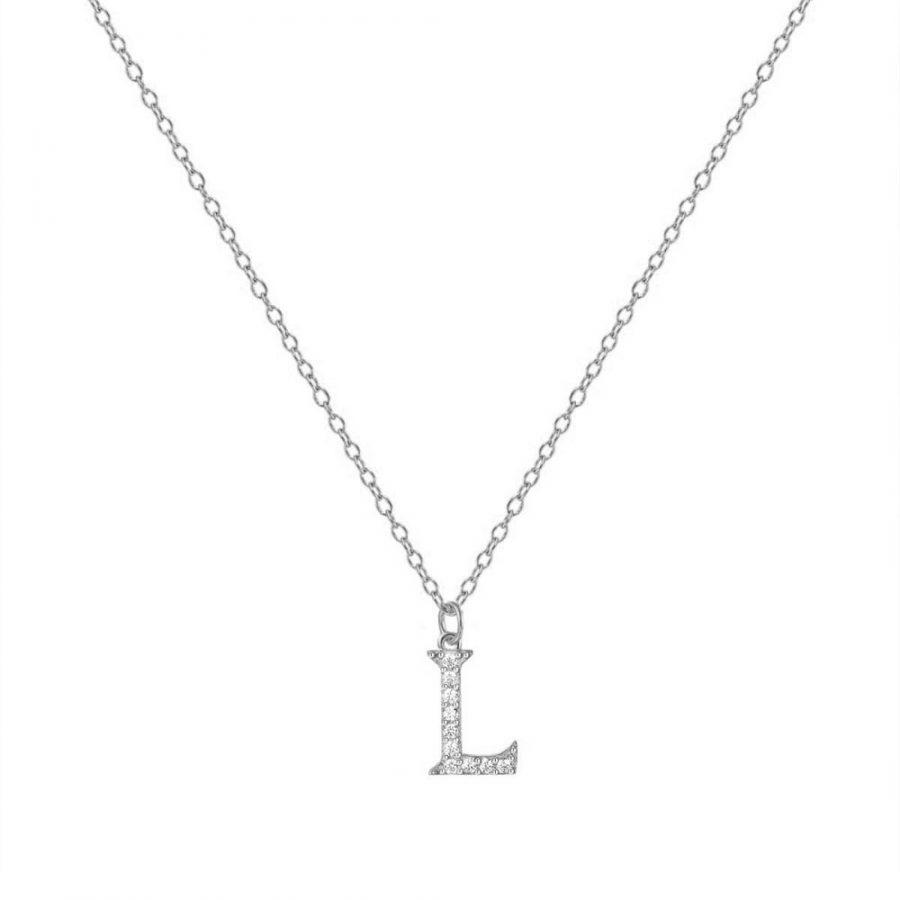 Colgante de plata letra L