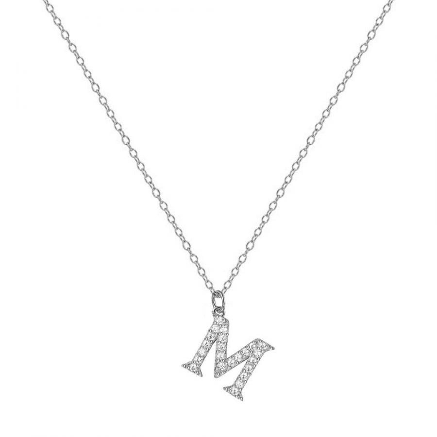 Colgante de plata letra M