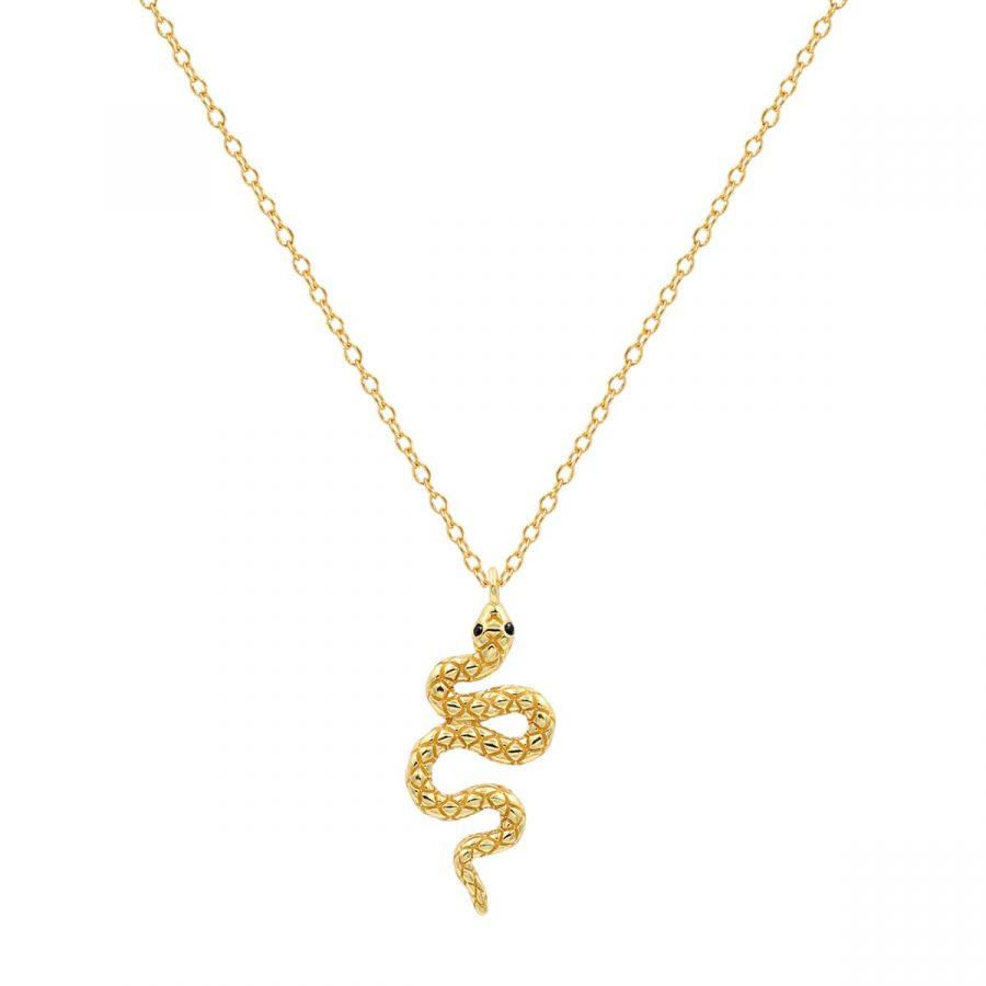 Colgante serpiente bañado en oro