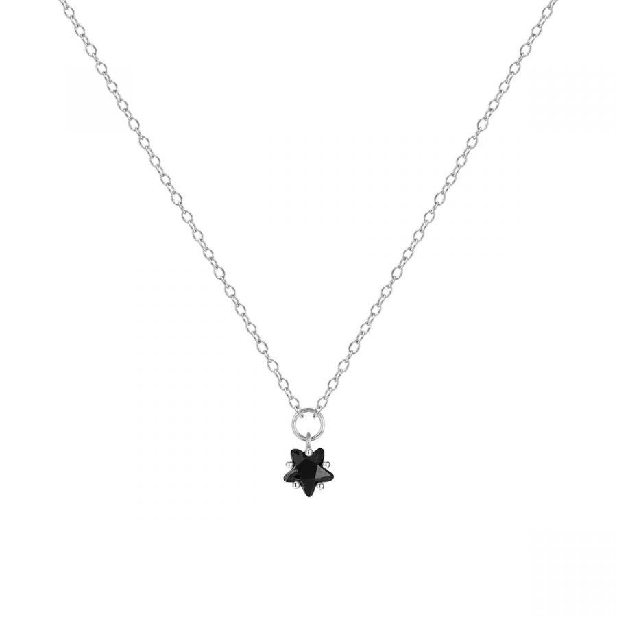 Colgante estrella negra plata