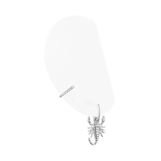 Pendiente de Aro con Escorpión en Plata