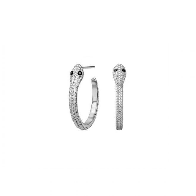 Pendientes de aro de serpiente en plata