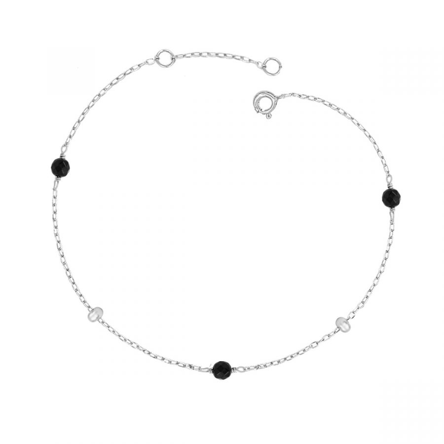 Pulsera Boho Plata con bolas de color negro