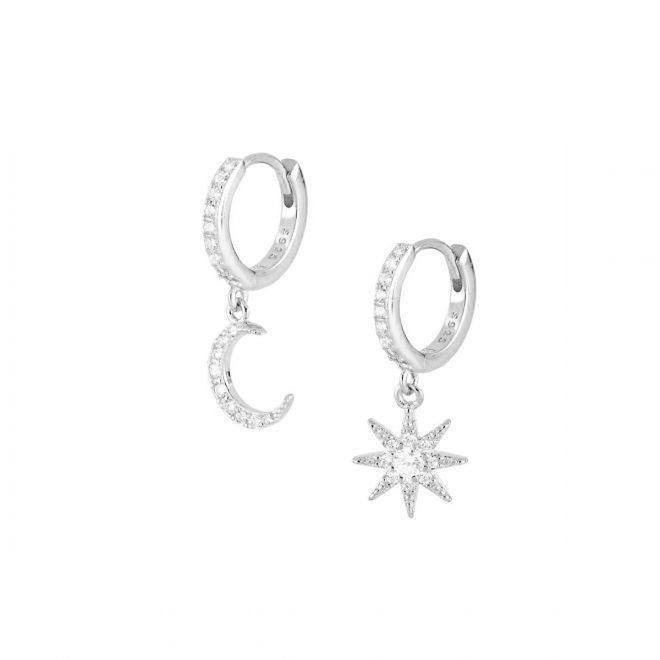 Aros de plata con luna y estrella