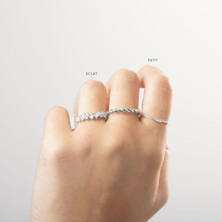 Combinación de anillos de plata para mujer