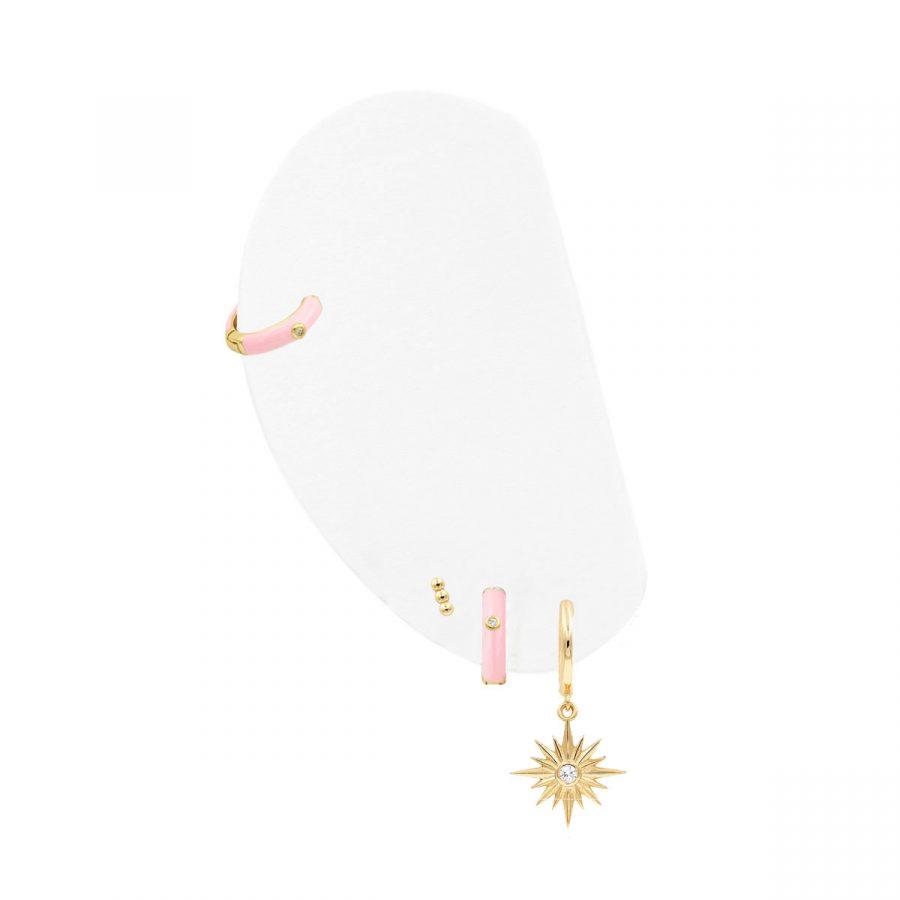combinación de aros de color rosa