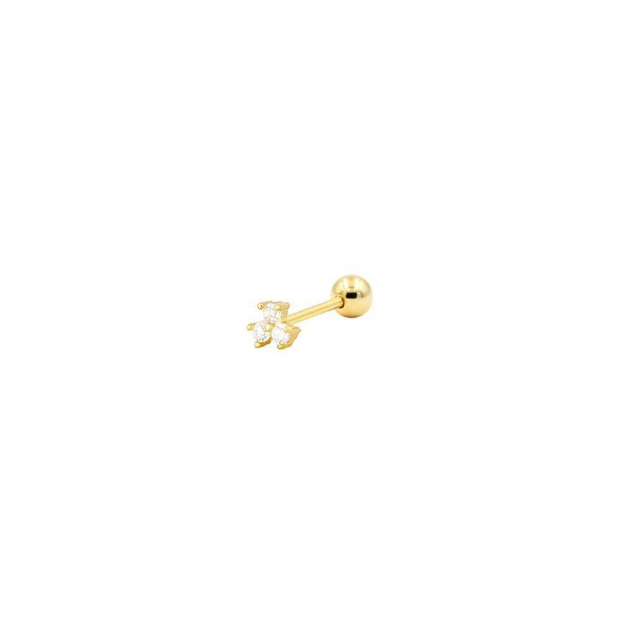 piercing bañado en oro clover