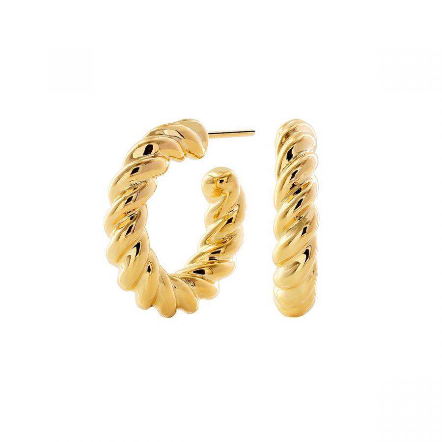 Aros tipo cuerda o trenzados gruesos dorados