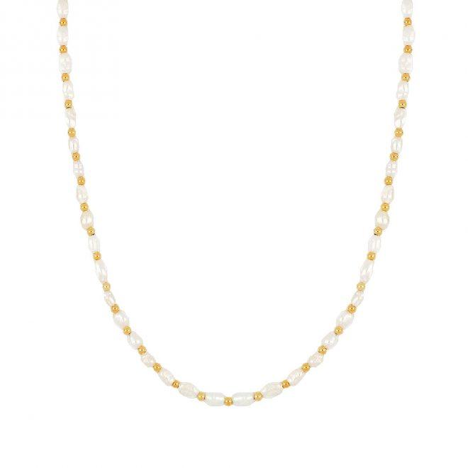 Collar de perlas y bolitas doradas