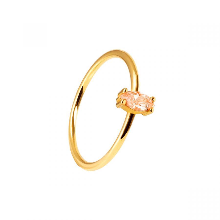 anillo piedra melocotón