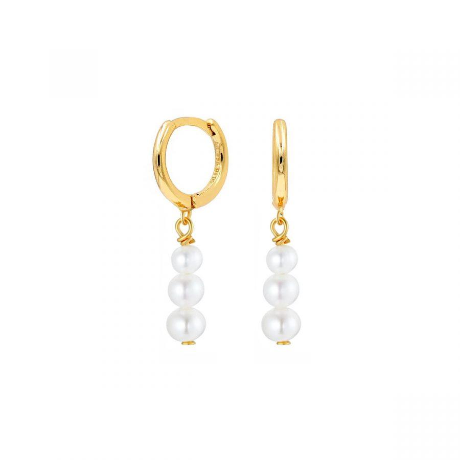 Pendientes de aro con tres perlas