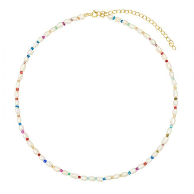 Collar perlas y bolas de colores