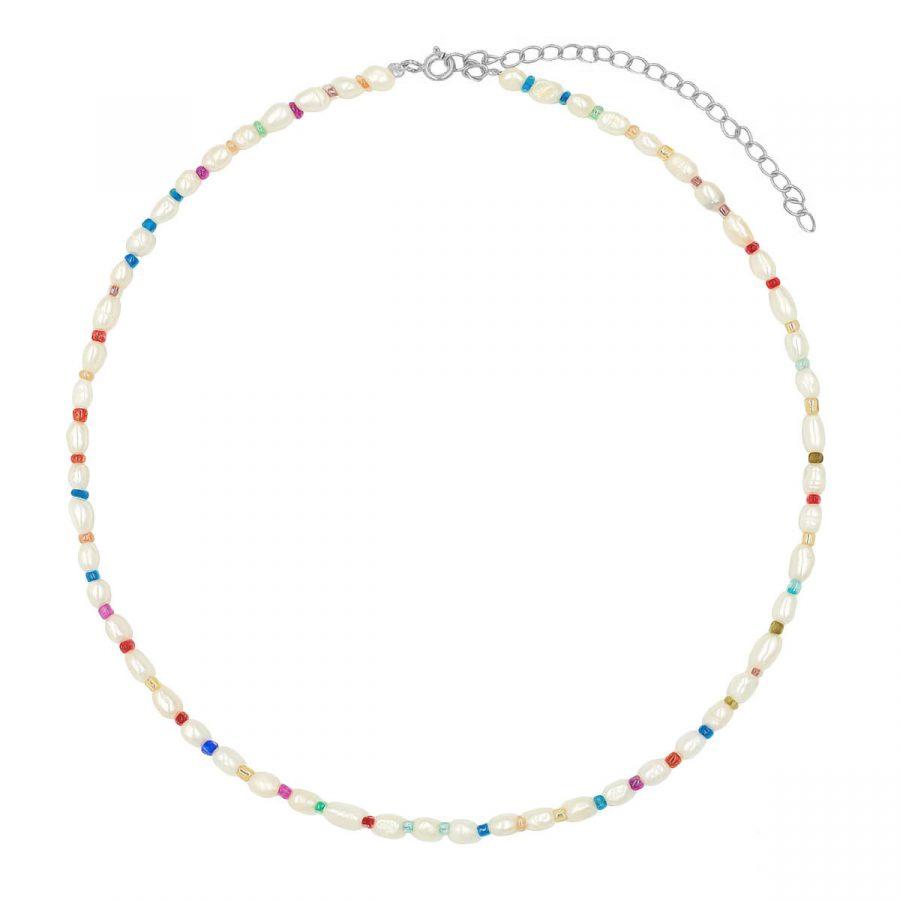 collar perlas de colores plata