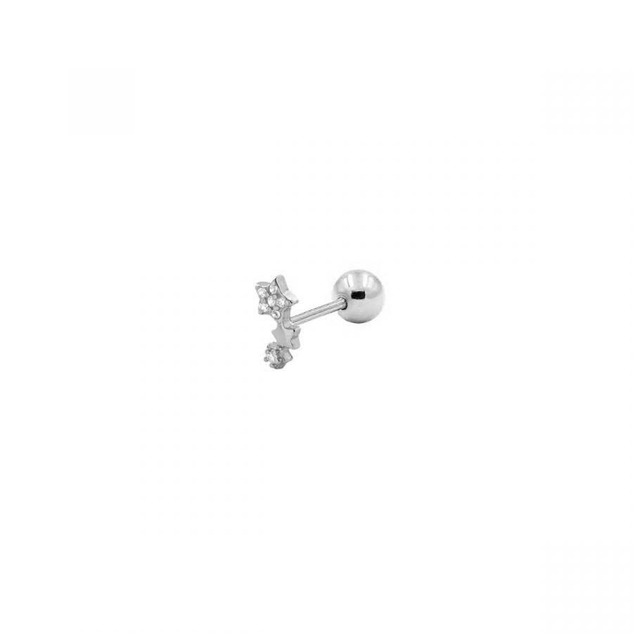 piercing estrellitas rosca de plata