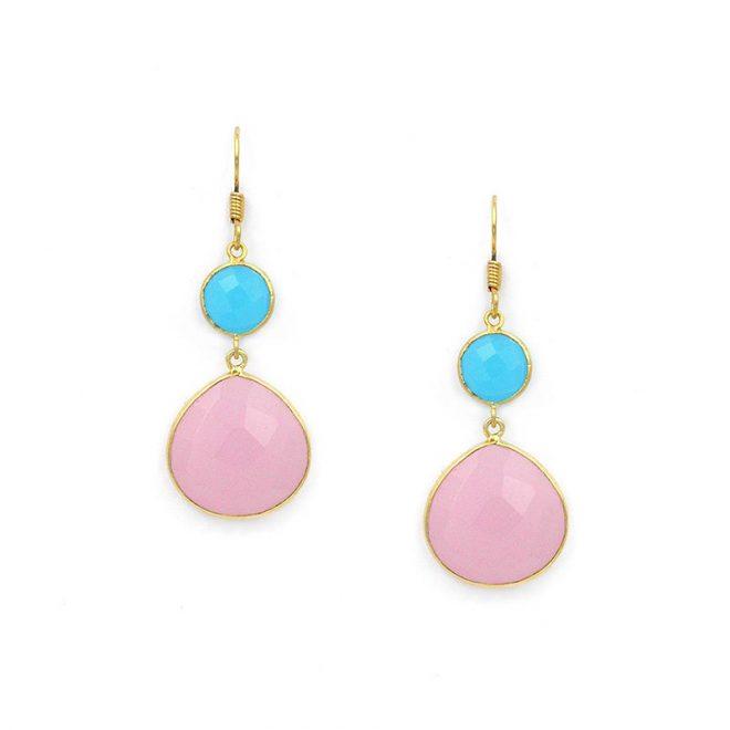 pendientes piedras color pastel azul y rosa