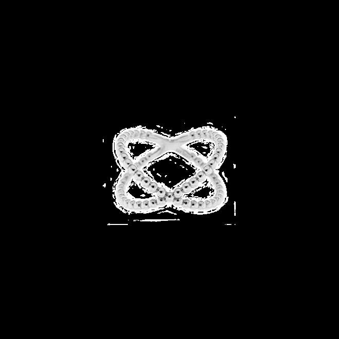 Sortija con diseño en X de bolitas en plata de ley