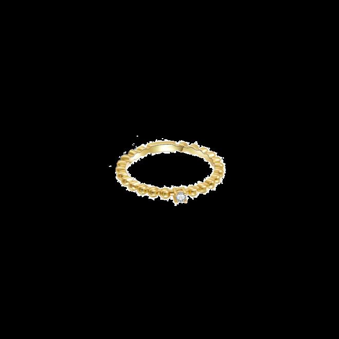 Sortija de bolitas cor solitario en plata bañada en oro