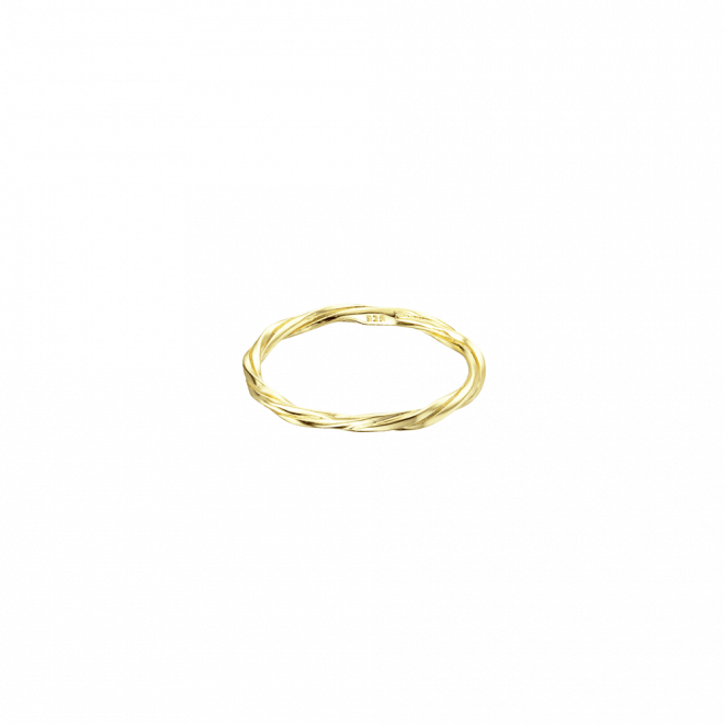 Sortija fina con diseño entrelazado en plata bañada en oro