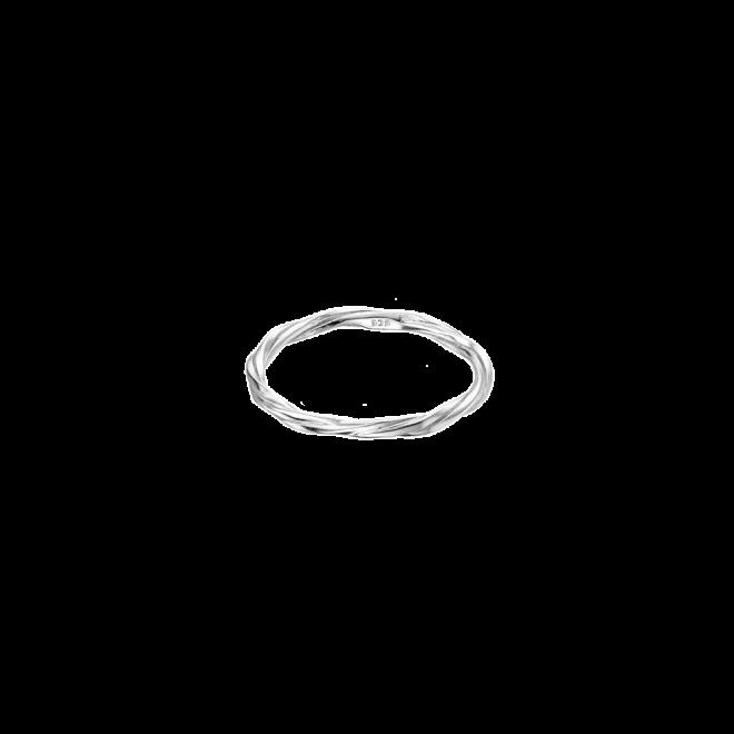 Sortija fina en plata de ley con diseño de hilos trezados