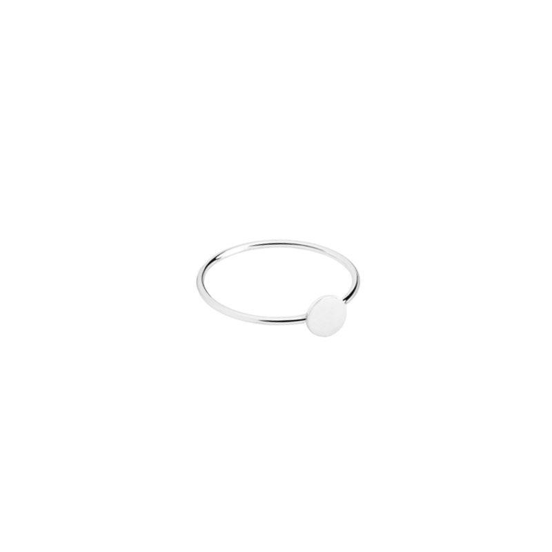 anillo con círculo, sortija con chapa de plata