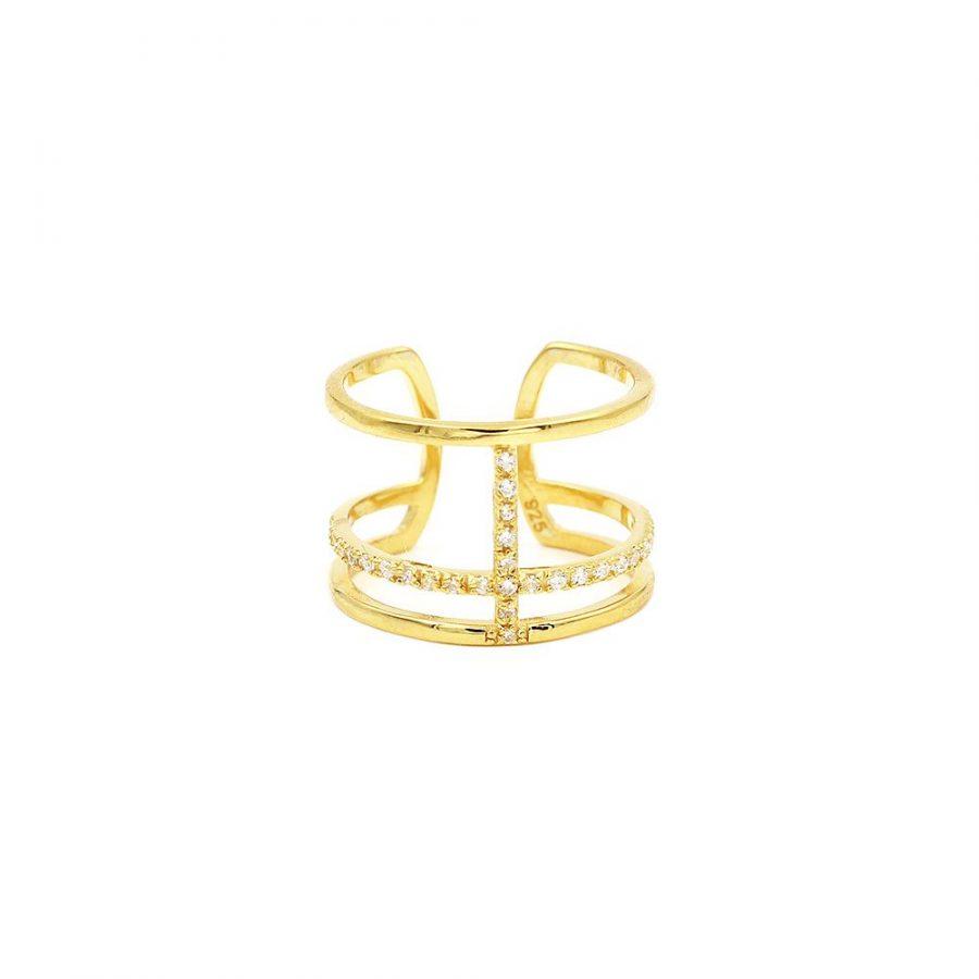 anillo ancho dorado con cristales