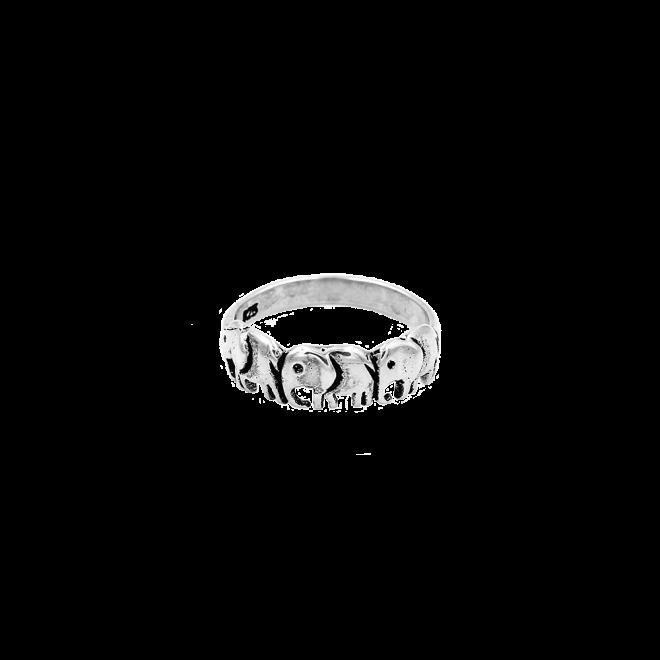 Sortija de elefantes en plata de ley en acabado oxidado