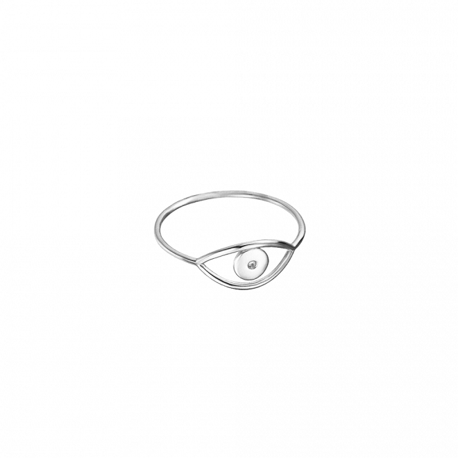 Sortija finita con ojo turco o evil eye en la parte frontal