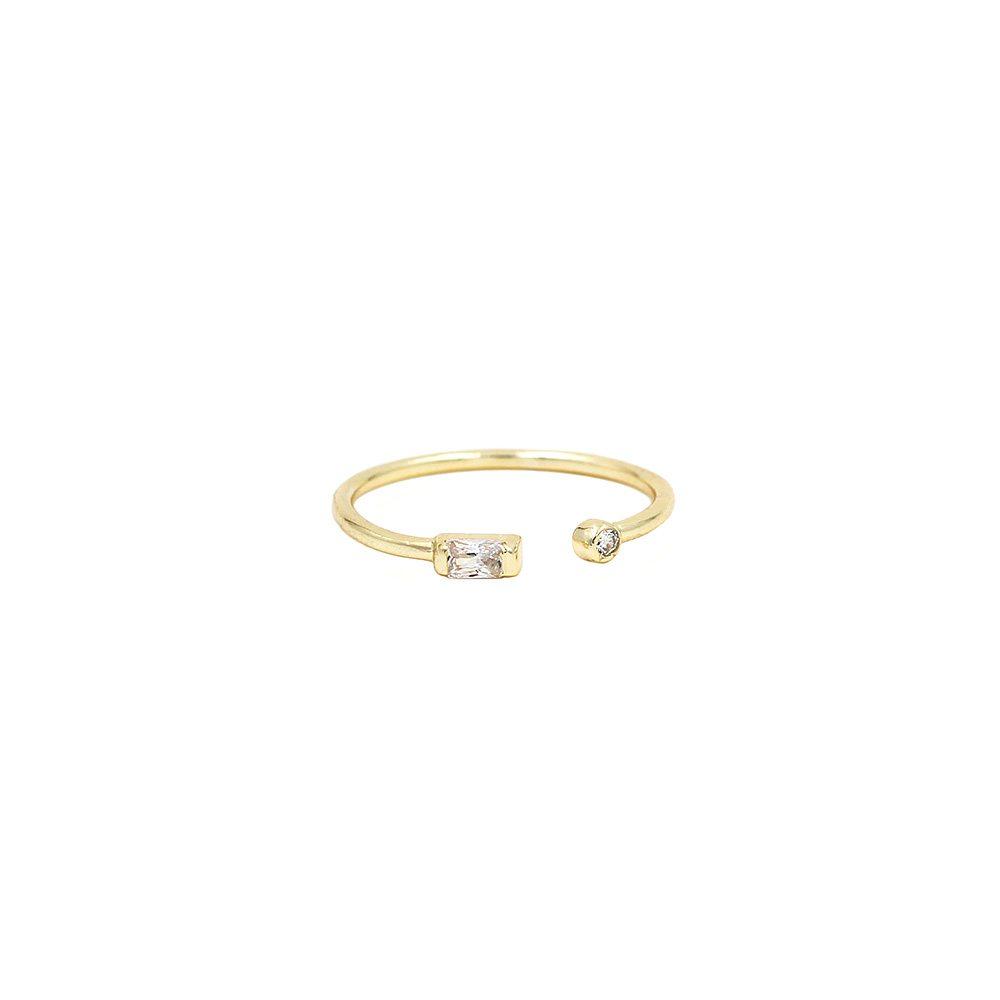 anillo abierto con cristales bañado en oro