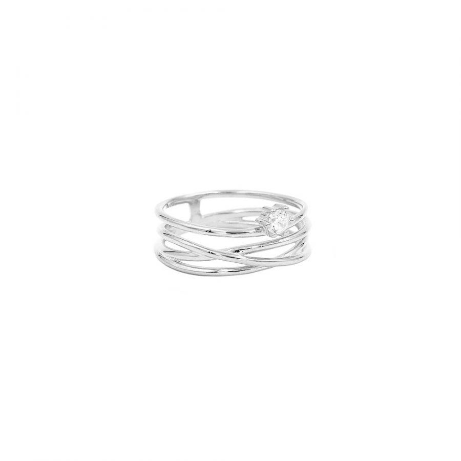 anillo satélite en plata con circonita blanca
