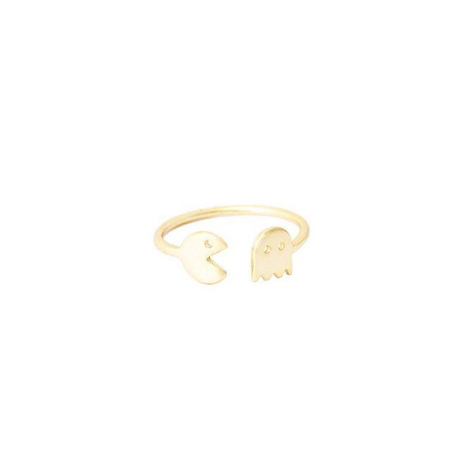 anillo pacman comecocos oro