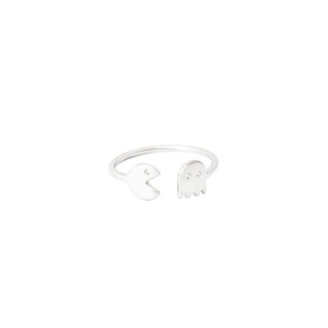 anillo pacman comecocos plata