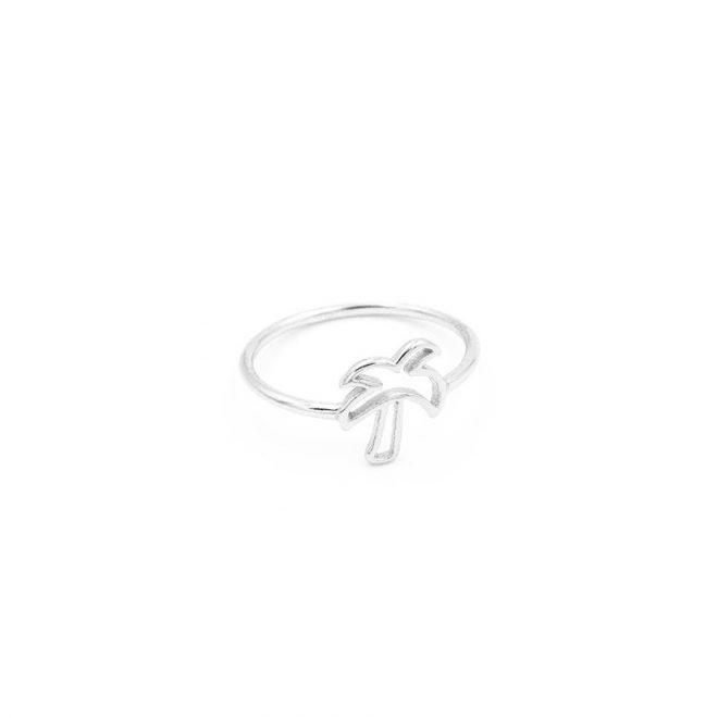 anillo palmera tropical plata