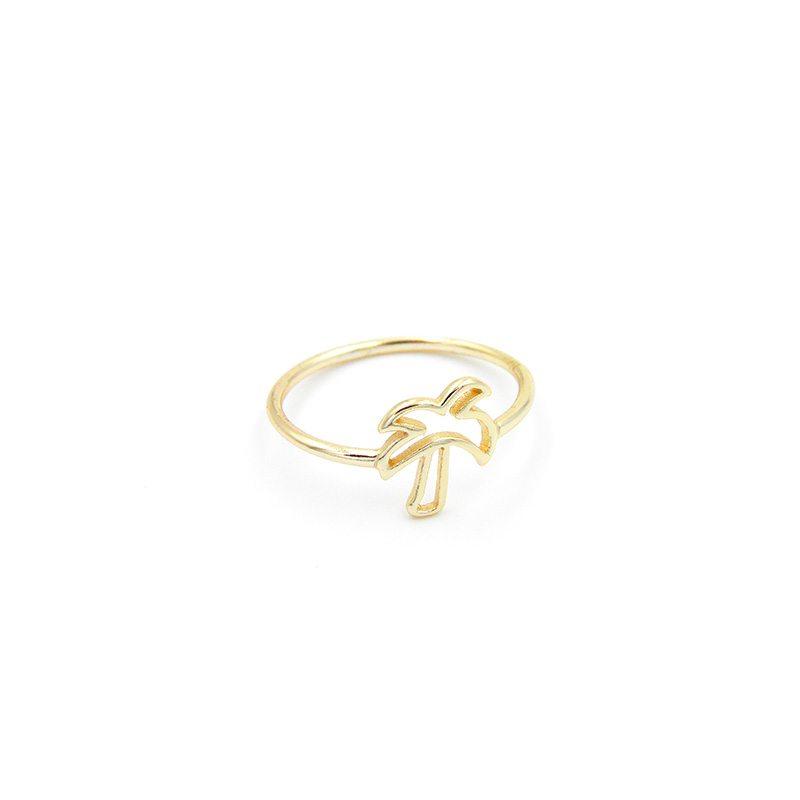anillo palmera dorado