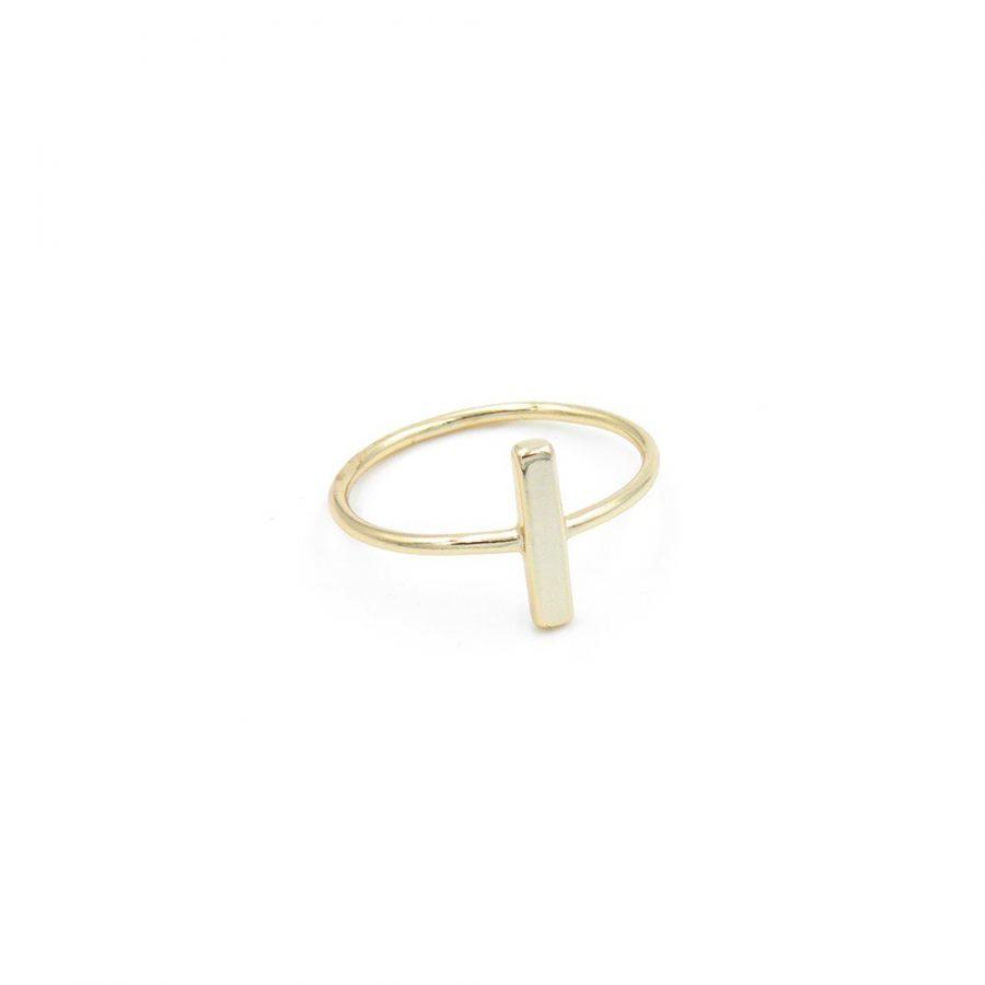 anillo barra, sortija palo, anillo stick dorado con diseño de barrita