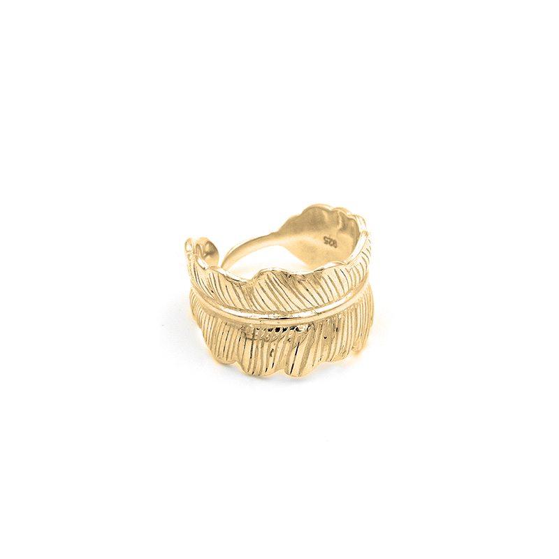 anillo pluma ajustable dorado