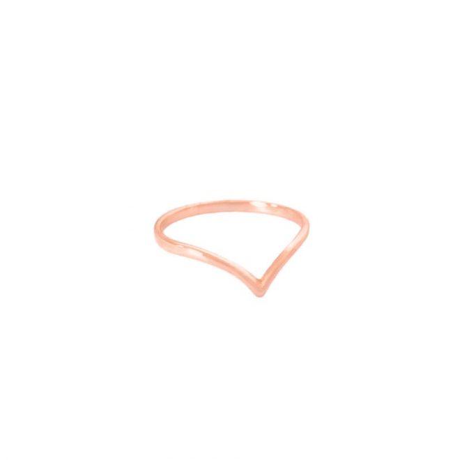 Sortija con forma de pico y baño de oro rosa