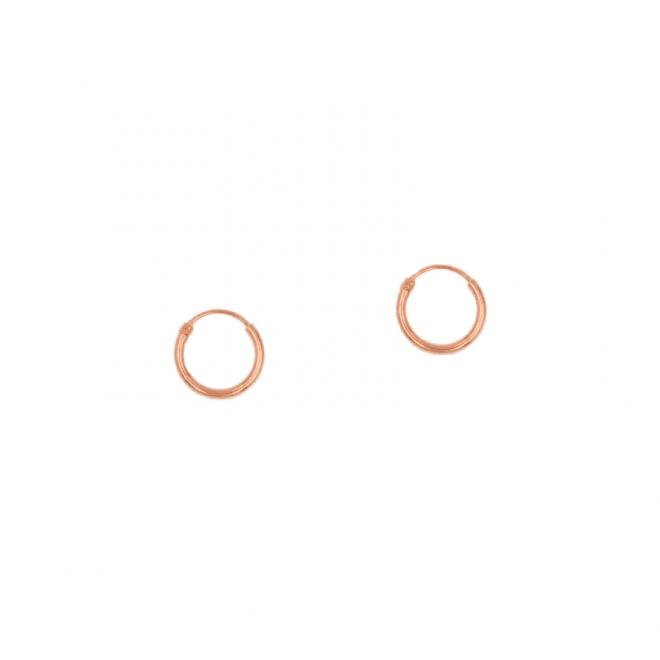 Pendiente de aro liso de 10mm bañado en oro rosa