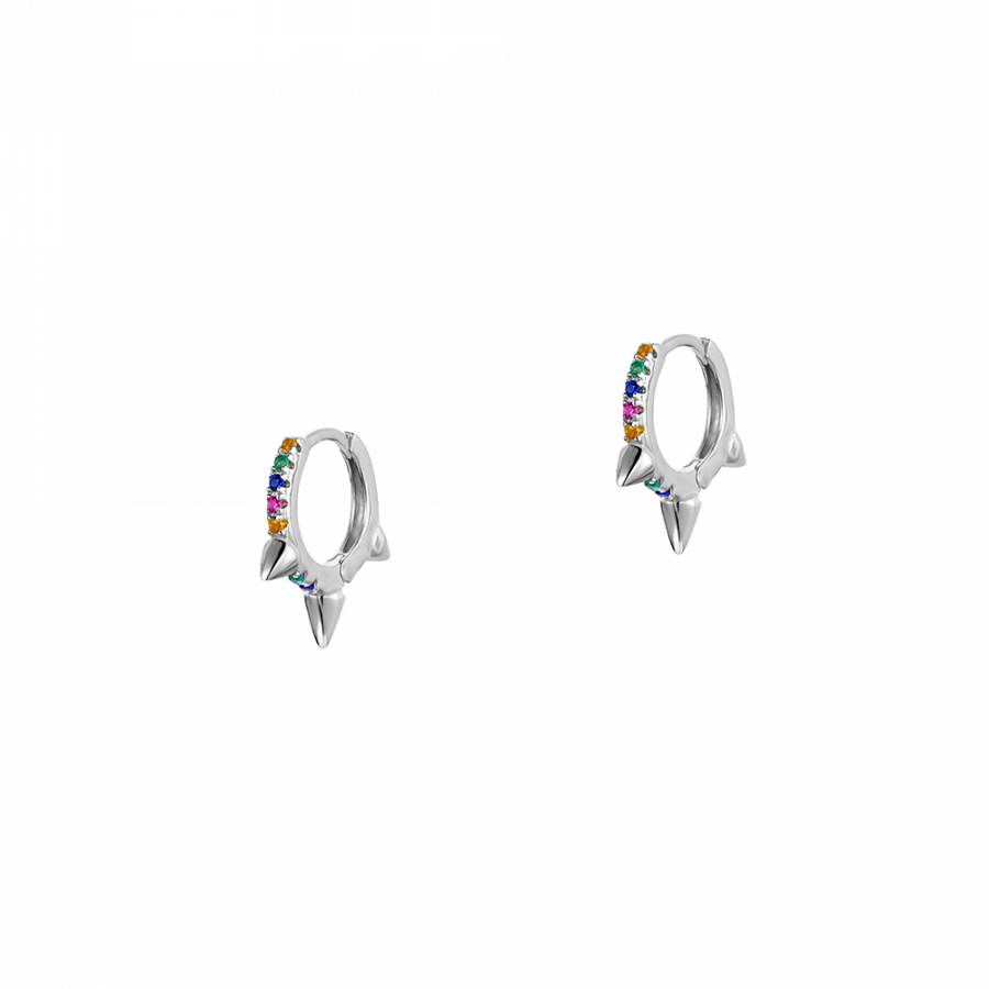 Pendientes de aro con circonitas multicolor en plata de ley
