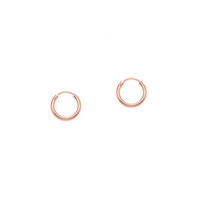 Aros lisos en plata de ley bañada en oro rosa de 12mm