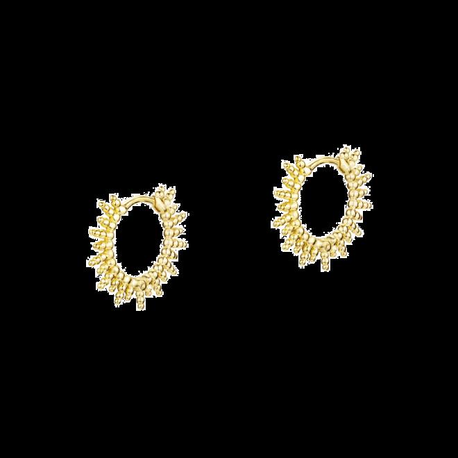 Pendientes de aro de bolitas en plata bañada en oro inspirados en el atardecer