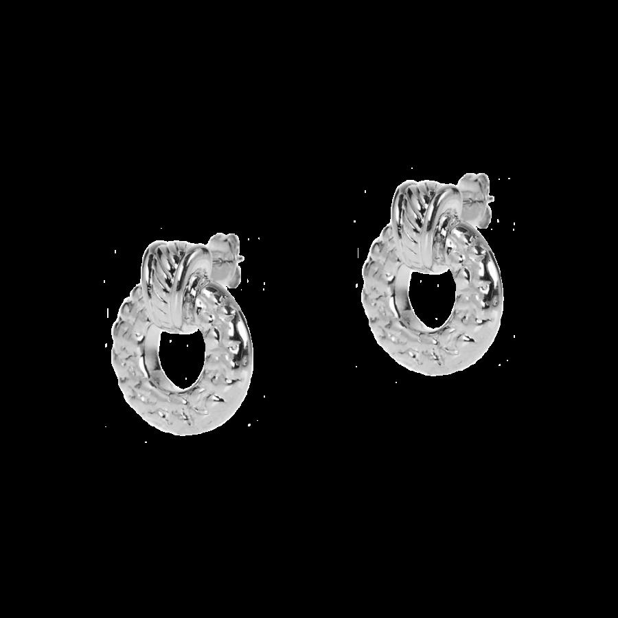 Pendientes de aro anchos en plata de ley estilo años 80