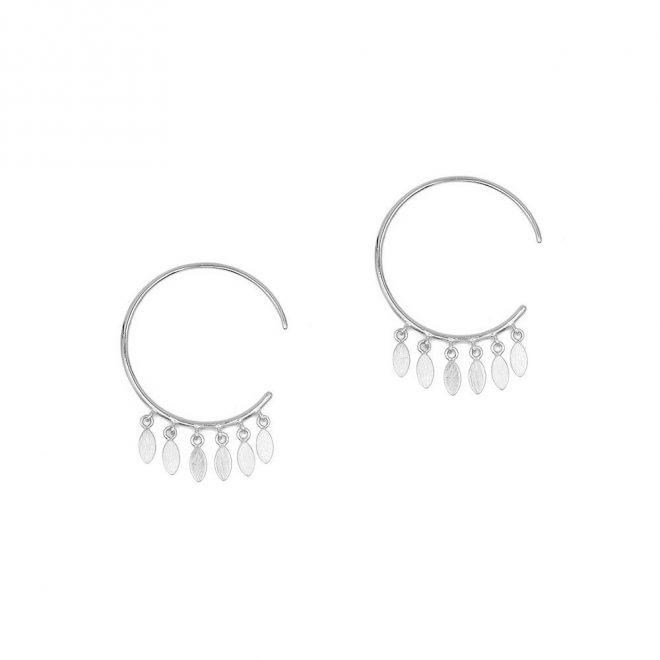 Pendientes de aro estilo boho con colgantitos en plata de ley