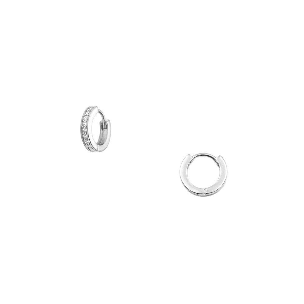 aritos pequeños con piedras blancas de 10mm