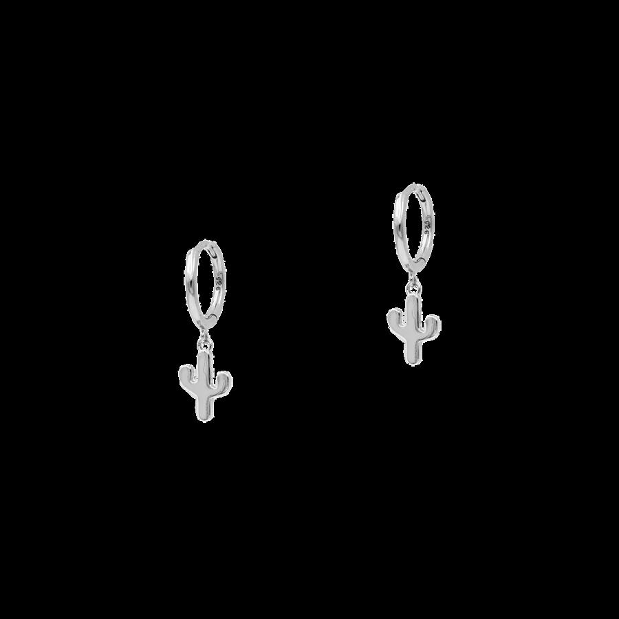 pendiente de aro con colgante en forma de cactus plata