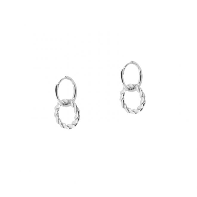 Pendientes de aros dobles en plata de ley
