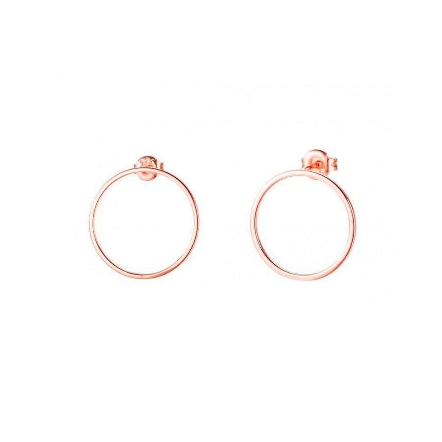 Pendientes de aro plano en oro rosa de 22mm