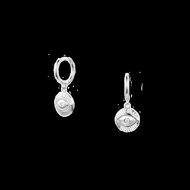 Pendientes de aro con chapa de ojo en plata de ley