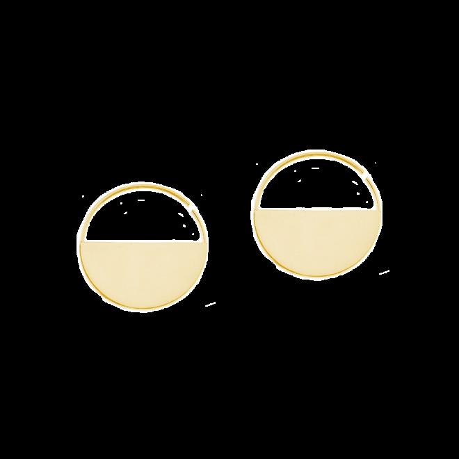Pendientes de aro con diseño minimalista en baño de oro 18k